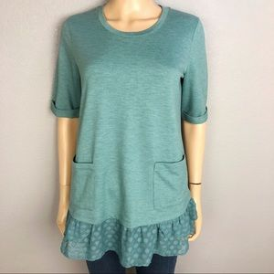 Logo Lounge Layered Look T-Shirt Ruffle Hem Green